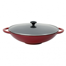 Cast Iron Chinese Wok with 2-Handle, Flat Base Induction, 37cm