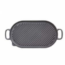 "Oval Cast Iron ""LINED"" Grill Pan with 2-Handle, 41cm"