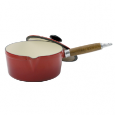 Cast Iron Saucepan with Cover & Wooden Handle, 1.2L