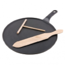Cast Iron Round Crepe Pan Griddle with Handle, 30cm