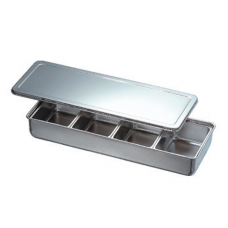 Stainless Steel Condiment Container, 4 comp, Long