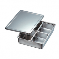 Stainless Steel Condiment Container, 4 comp, Square