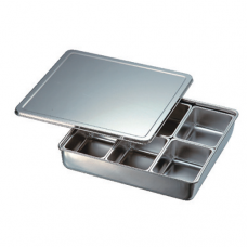 Stainless Steel Condiment Container, 6 comp, Square