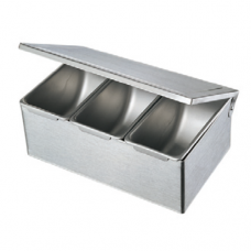 Stainless Steel Condiment Box with Hinge Lid, 3 comp