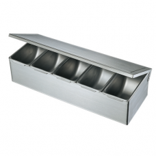 Stainless Steel Condiment Box with Hinge Lid, 5 comp