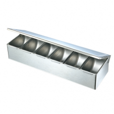 Stainless Steel Condiment Box with Hinge Lid, 6 comp