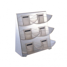 2 x 3 Tier Condiment Stand with Polycarbonate Holder, 44 x 17.5 x 44.5cm