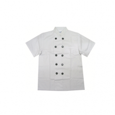 Normal White Short Sleeve Uniform (2-Row Black Button), L