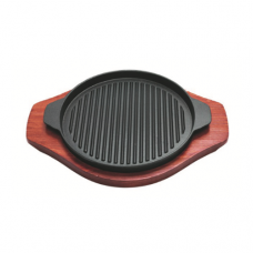 Round Cast Iron Shallow Hotplate (Line Surface), 26cm