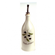 FRENCH CLASSIQUE, Decorated Bottle Olive Oil, Creamy White