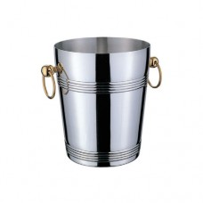 """Stainless Steel """"DELUXE"""" Champagne Bucket, Gold Handle"""