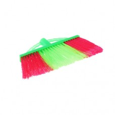 Economy Nylon Broom Head Only, Green & Red, Soft PP Fill